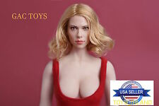 1/6 Scarlett Johansson Head 7.0 Black Widow Short Blonde Hair USA IN STOCK