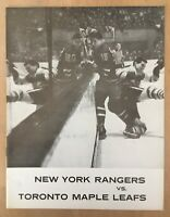 1963-64 NHL TORONTO MAPLE LEAFS @ NEW YORK RANGERS VINTAGE HOCKEY PROGRAM - MINT