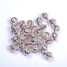 10pcs Quality Czech Crystal SILVER PLATED Charms Spacer BEADS - Choose 6MM-10MM