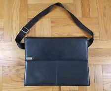 HARTMANN Black Leather Messenger Bag | Briefcase Laptop Commuter Carrier