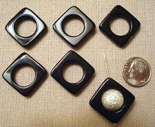 Black onyx beads six 20mmx20mm 12mm open center diagonal drilled frames bs021