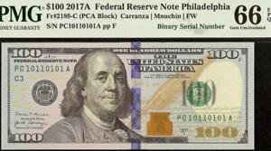 GEM 2017 $100 DOLLAR 10110101 BINARY SERIAL NUMBER FEDERAL RESERVE NOTE PMG 66