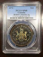 1971 Canada British Columbia Ag Silver Dollar PCGS SP-68, Buy 3 Get $5 Off R6513