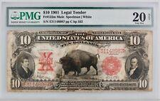 1901 $10 Bison Legal Tender Fr 122m PMG Very Fine 20 Mule