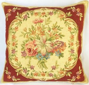 """""""BOUQUET"""" BELGIAN TAPESTRY CUSHION COVER, 18"""" X 18"""", 46 X 46CM, 01804/17 RED"""