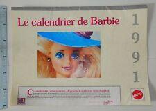 Ancien calendrier calendar poupées BARBIE 1991 Vintage