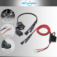 MICTUNING SAE to USB Cable Adapter Waterproof USB Charger Q 2.1A Port +10A Fuse