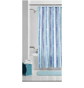 Embossed Watercolor Stripe Fabric Shower Curtain by Mainstays New Purple Green