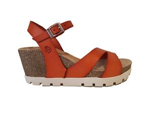 Yokono Mavile 007 Ladies Candy Orange Leather Wedge Sandals
