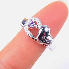 Women Excellent Purple Crystal Love 925Sterling Silver Ring Size 8 Jewelry H1117