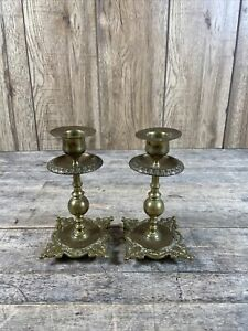 Pair Of Antique Heavy Brass Classical Style Ornate Candlesticks.