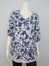 d80c653dd5128 Elena Baldi Women s 100% Linen Blue White Floral 3 4 Sleeve Tunic S