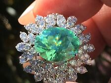 18K GOLD 8.15 CT. GIA CERTIFIED UNHEATED NEON PARAIBA TOURMALINE DIAMOND RING!!