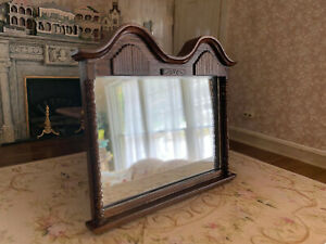 Vintage Miniature Dollhouse 1:12 Reminiscence Wood Framed Wall Mirror Large