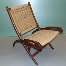 Rope Seat - Back Folding Chair Hans Wagner Style Mid-century Danish Style Retro