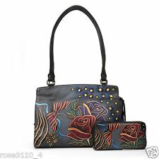 Anuschka Leather Zip Organizer Handbag Satchel Wallet Rose Safari Grey Large NEW