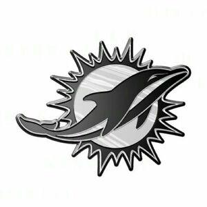 Miami Dolphins 3D Emblem Raised Chrome Color Die Cut Auto NFL Decal Sticker