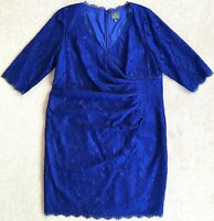 ADRIANNA PAPELL WOMAN COBALT BLUE LACE V NECK SHEATH DRESS NWOT! $170 22W