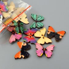 50Pcs Mixed Butterfly Wooden 2 Holes Sewing Buttons