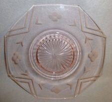 """Pink Depression Glass Octagon Dinner Plate Etched Flowers Lines 10"""" Hocking ?"""