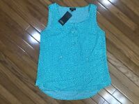 NWT Jones New York Sleeveless Teal Polka Dot Blouse Top Drawstring Sz M  New