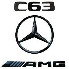 Mercedes C Class Gloss Black Badge Set Rear Boot Star C63 AMG Emblem W205 Saloon