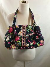 """Vera Bradley navy with pink & green floral 2 handled purse - 13"""" x 9"""""""