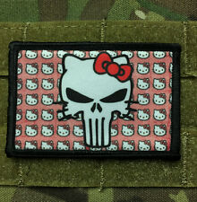 Hello Kitty Punisher Morale Patch Tactical ARMY Hook Military USA Badge Flag