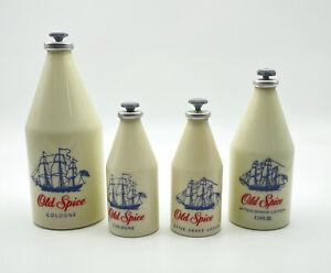 Lot Of (4) Vintage Old Spice Cologne & After Shaving Bottles Shulton. Empty