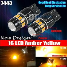 2X 7443 5630 Chip High Power LED Amber Yell​ow Turn Signal Lights Bulbs Lamp