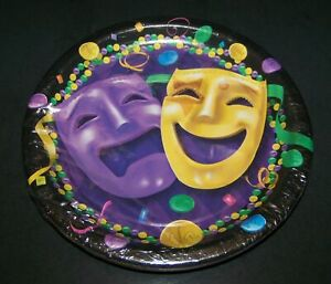 """8 Mardi Gras Party Plates Comedy Tragedy Mask 6.75"""" Purple Yellow Green Gold"""