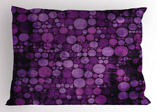 Purple Pillow Sham Vintage Grunge Circles King Size Pillowcase 36 x 20 Inches