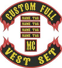 "CUSTOM FLAME FULL VEST SET 15"" MC Bikers Embroidered Patches"
