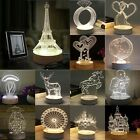 3D LED Optical Table Lamp Creative Bedside Table Night Light 3-color Variable