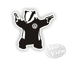 Banksy Badger With Guns Graffiti VW Volkswagon Car Van Stickers Decal Sticker