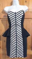 Lipsy Sweetheart Peplum Bodycon Dress UK 10 Faux Leather party races wedding