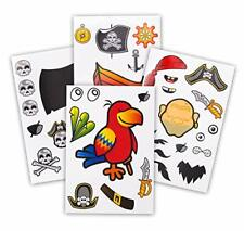 24 Make A Pirate Stickers For Kids - Great Pirate Theme Birthday Party Favors -