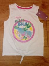 New Girls White TU Palm Beach Glittery Logo Sleeveless Tie Top Age 2/3 Years