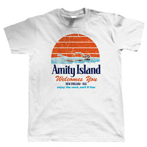 Amity Island Mens Funny T Shirt, Shark Jaws Quints Retro Movie Gift for Him Dad