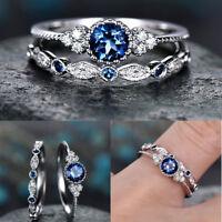 Women 925 Silver Jewelry 2pcs/set Blue & Green Sapphire Wedding Ring Size 6-10