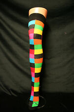MULTI COLOUR RANDOM RAINBOW SQUARES/HARLEQUIN/JESTER OVER THE KNEE SOCKS
