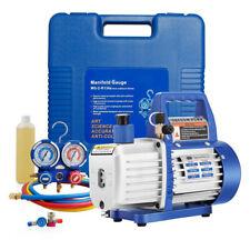 VIVOHOME 1/4HP 3.5CFM Air Vacuum Pump HVAC R134A AC Manifold Gauge Combo Kit NEW