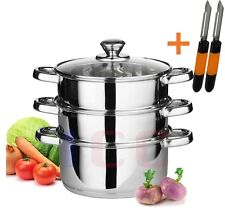 3pc stainless steel food steamer glass lid steam sauce pans cooking + 2 Peelers