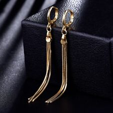 Women Quality Yellow Gold Filled Fashion Long Tassel Dangle Chandelier Earrings