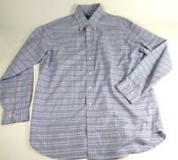 Brooks Brothers Country Club Non Iron Mens L Blue Red Plaid Supima Cotton Shirt