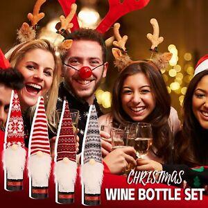 Christmas Santa Wine Bottle Bag Cover XMAS Gift Wrap Table Decoration