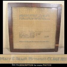 1837 Plymouth Ct Sampler Mary Beach Age 12 Original Backing Never Removed