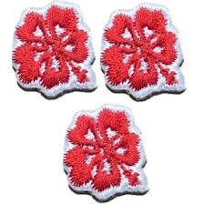 Red Mini Hibiscus Applique Patch - Tropical Flower (3-Pack, Mini, Iron on)