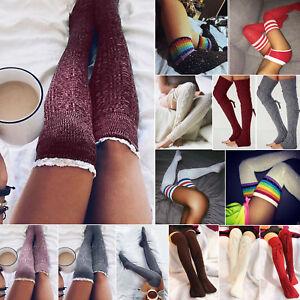 Womens Girls Knit Over Knee Socks Thigh High Warm Elastic Winter Long Stocking
