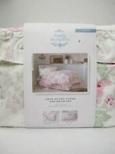 Simply Shabby Chic ESSEX White Pink Floral Striped Ruffled Duvet Set - Twin